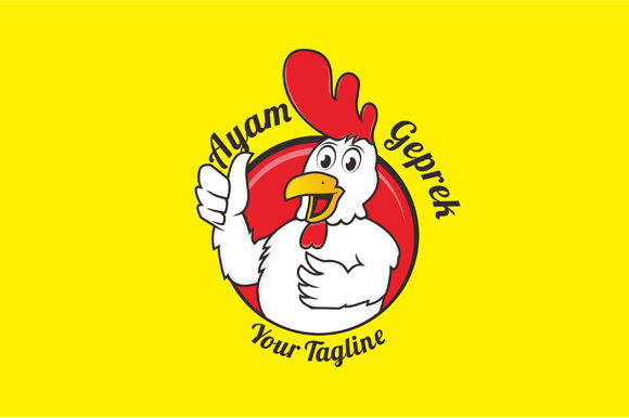 ayam geprek logo design rooster mascot graphic by fatrin99art creative fabrica creative fabrica