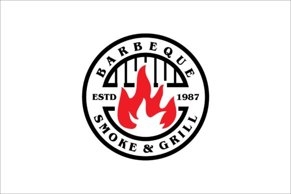 Grill Barbecue and Flame Logo Stamp Graphic Logos By artpray