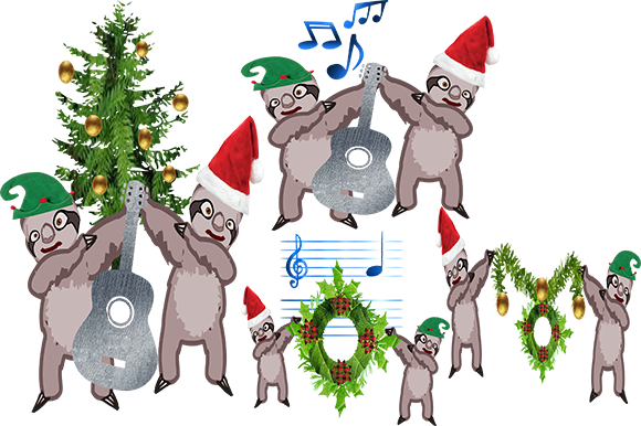 Print on Demand: Sloths at Christmas Graphic Illustrations By arts4busykids