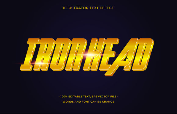 Text Effect Editable - Iron Head Graphic Add-ons By aalfndi