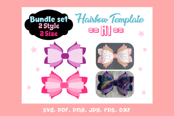 (2) Style & 2 Sizes HairBow Templates Graphic Graphic Templates By momstercraft