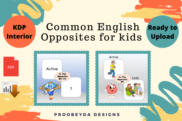 Print on Demand: Common English Opposites for Kids Vol.1 Graphic Teaching Materials By Proobeyda - Image 3