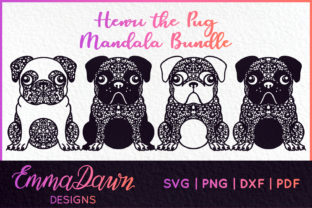 4 Pug Mandala Zentangle Designs Graphic Crafts By Emma Dawn Designs