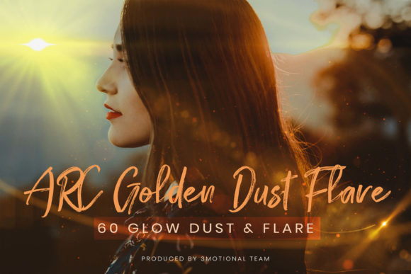 Print on Demand: 60 Golden Dust Flare Effect Overlay Graphic Backgrounds By 3Motional