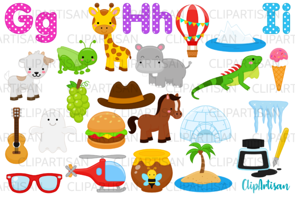 Alphabet Clip Art, ABC, GHI Letters Graphic Illustrations By ClipArtisan