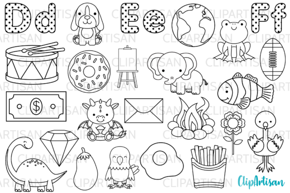 Alphabet Digital Stamps, Letters Clipart Graphic Illustrations By ClipArtisan