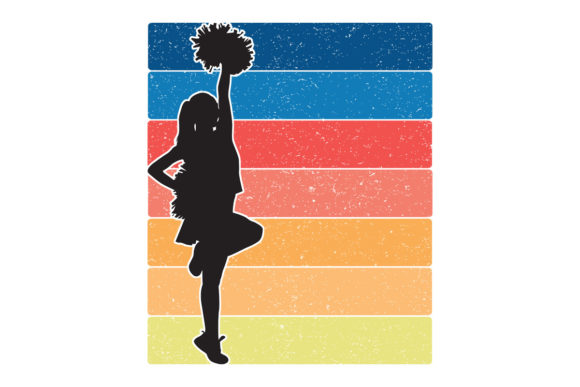 Print on Demand: Cheerleader Retro Sunset Stripes PNG Graphic Logos By SunandMoon