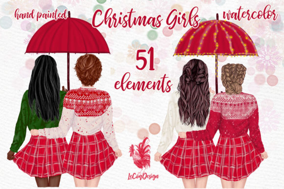 Christmas Girls Clipart, Christmas Mug Graphic Illustrations By LeCoqDesign - Image 1
