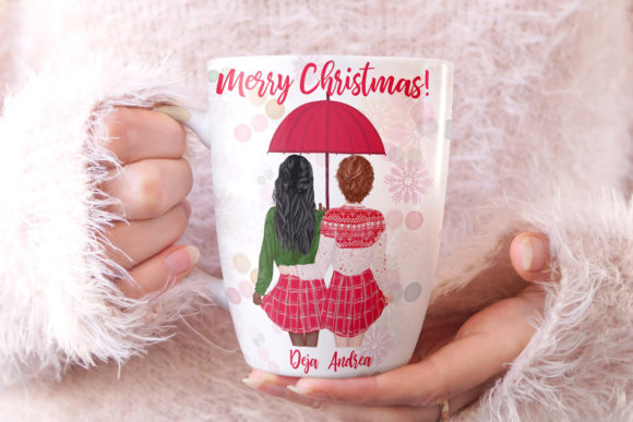 Christmas Girls Clipart, Christmas Mug Graphic Illustrations By LeCoqDesign - Image 6