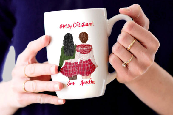 Christmas Girls Clipart, Christmas Mug Graphic Illustrations By LeCoqDesign - Image 7
