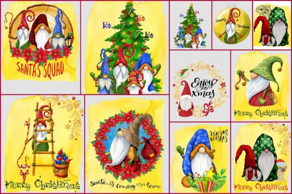 Print on Demand: Christmas Gnomes Graphic Pack Graphic Illustrations By anatarouca