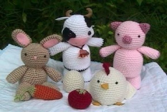Crochet Farm Animal Pattern Set Graphic Crochet Patterns By Amy Gaines Amigurumi Patterns - Image 1