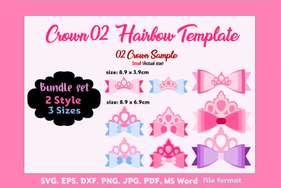 Crown02 - 2Style 3Sizes Hairbow Templat Graphic Graphic Templates By momstercraft