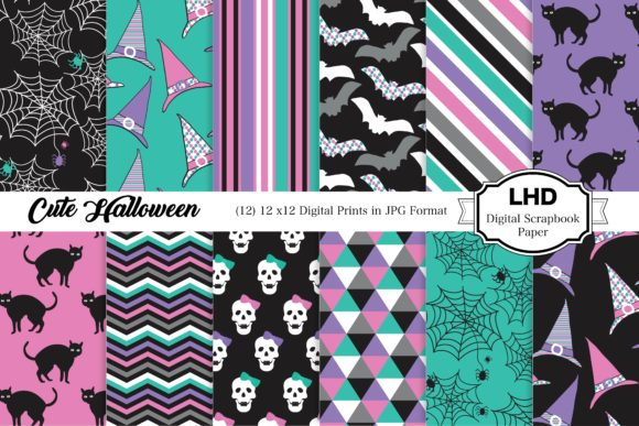 Cute Halloween Digital Prints Graphic Patterns By LeskaHamatyDesign