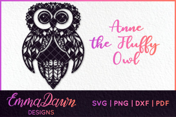 Fluffy Owl Mandala Zentangle Design Graphic Crafts By Emma Dawn Designs