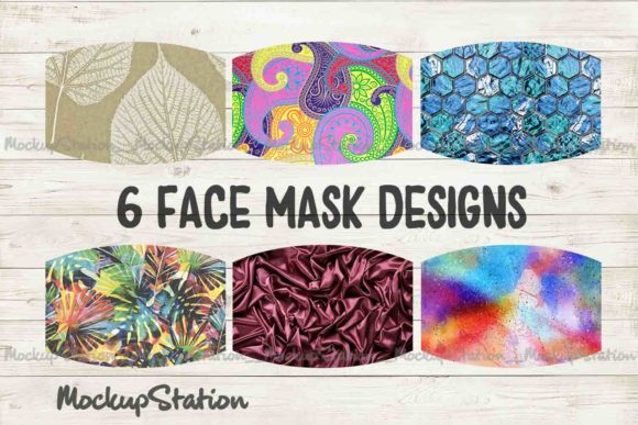 Print on Demand: Face Mask Sublimation Design Bundle Grafik Hintegründe von Mockup Station