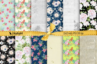 Print on Demand: Floral Background Papers Printable Graphic Backgrounds By CatgoDigital