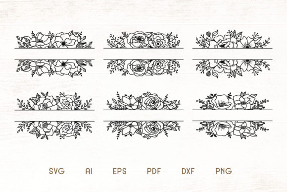 Print on Demand: Floral Split Monogram Divider Frames SVG Graphic Illustrations By Dasagani