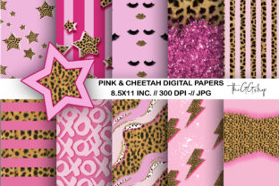 Print on Demand: Girl & Cheetah Print Digital Paper Pack Graphic Crafts By TheGGShop 1