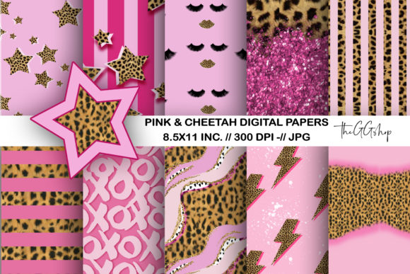 Print on Demand: Girl & Cheetah Print Digital Paper Pack Grafik Plotterdateien von TheGGShop