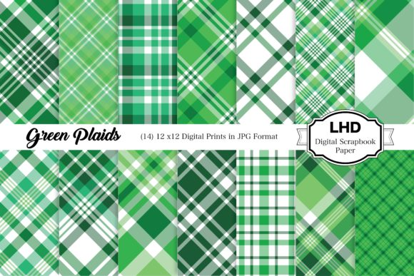 Green Plaids Graphic Patterns By LeskaHamatyDesign
