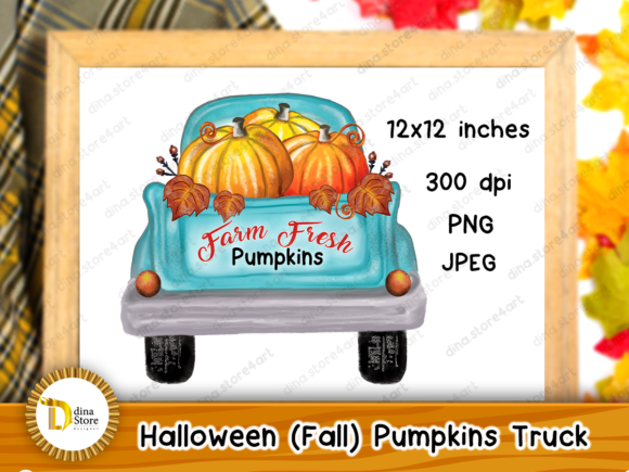 Print on Demand: Halloween, Fall, Pumpkins Truck,sublimat Grafik Plotterdateien von dina.store4art