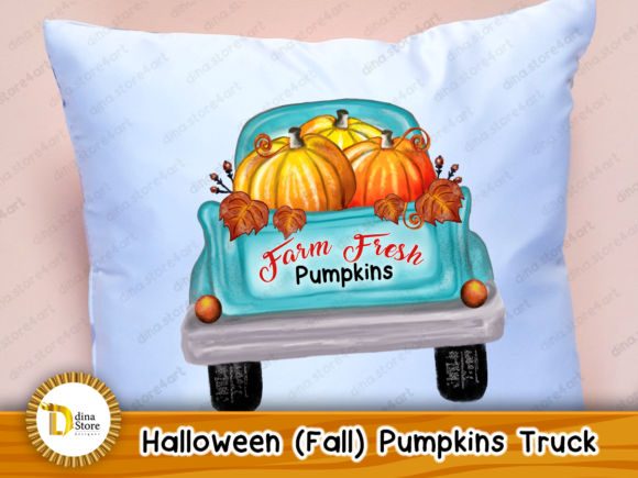 Print on Demand: Halloween, Fall, Pumpkins Truck,sublimat Graphic Crafts By dina.store4art - Image 2
