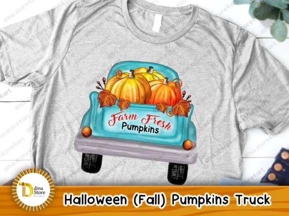 Print on Demand: Halloween, Fall, Pumpkins Truck,sublimat Graphic Crafts By dina.store4art - Image 3