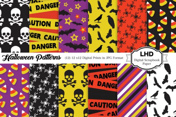 Halloween Patterns Gráfico Moldes Por LeskaHamatyDesign