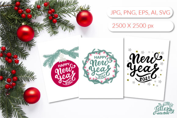 Happy New Year 2021 Greeting Cards Set Graphic Illustrations By cyrilliclettering