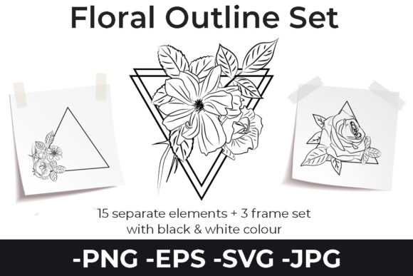 Print on Demand: Line Drawing Flowers Set Triangle Frame Graphic Illustrations By AzrielMch