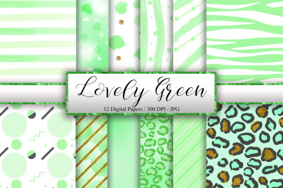 Lovely Green Background Digital Papers Graphic Backgrounds By PinkPearly