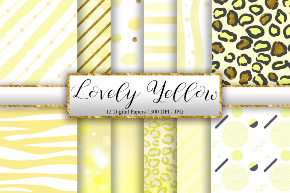 Lovely Yellow Background Digital Papers Graphic Backgrounds By PinkPearly