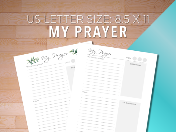 Print on Demand: My Prayer Journal Notes, US Letter Size Graphic Print Templates By AscendPrints