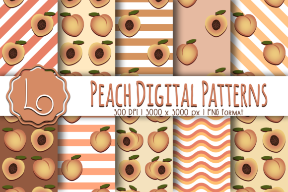 Print on Demand: Peach Digital Patterns Graphic Patterns By La Oliveira