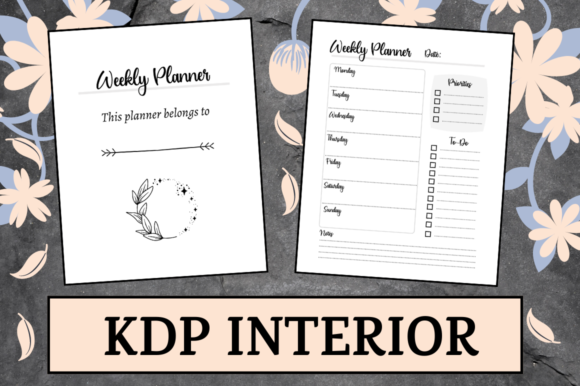 Print on Demand: Simple Weekly Planner | KDP Interior Graphic KDP Interiors By Hungry Puppy Studio