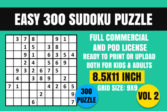 Print on Demand: Sudoku 300 Puzzle Book Easy  Vol. 2 Graphic Coloring Pages & Books Kids By Creative_Design