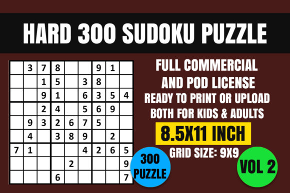 Print on Demand: Sudoku Puzzle Book Hard 300 Vol. 2 Graphic Coloring Pages & Books Kids By Creative_Design