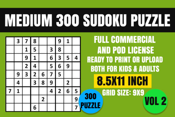 Print on Demand: Sudoku Puzzle Book Medium 300 Vol. 2 Graphic Coloring Pages & Books Kids By Creative_Design