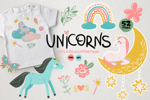 Unicorn - Baby Illustrations Graphic Illustrations By lena-dorosh