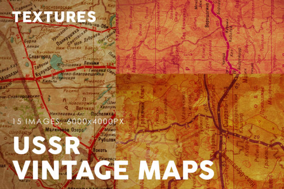 Print on Demand: Vintage USSR Map Textures Graphic Textures By ArtistMef