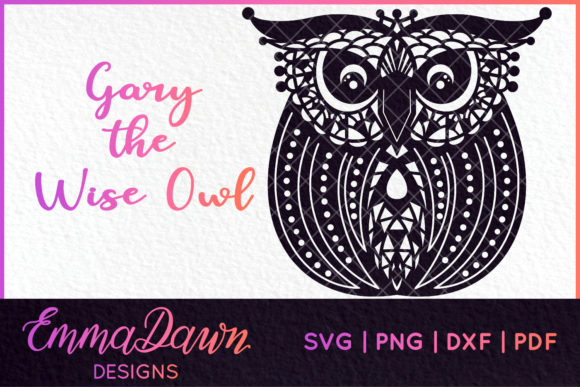 Wise Round Owl Mandala Zentangle Design Graphic Crafts By Emma Dawn Designs