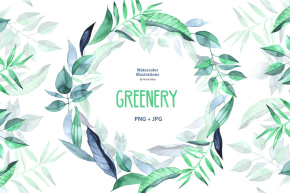 Watercolor Greenery Graphic Illustrations By NataliMyaStore