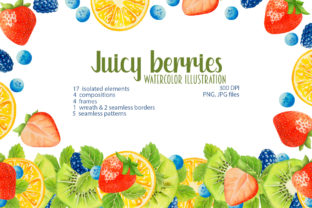 Print on Demand: Watercolor Juicy Summer Berries Graphic Illustrations By Alena Yasneva