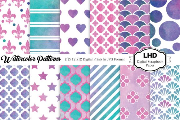 Watercolor Patterns Graphic Patterns By LeskaHamatyDesign