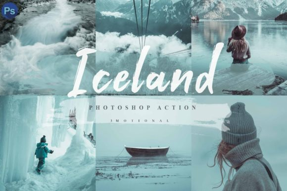 Print on Demand: 10 Iceland Photoshop Actions, ACR LUT Graphic Actions & Presets By 3Motional