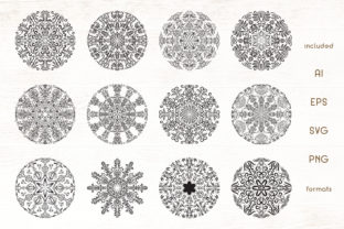 Print on Demand: 12 Floral Mandala Vectors Pack Graphic Illustrations By Dasagani