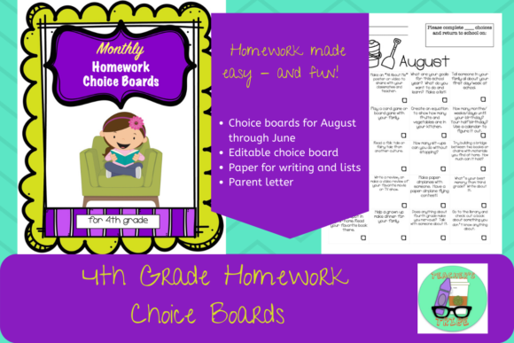 4th Grade HW Choice Boards for All Year Graphic 4th grade By Teacher's Tribe