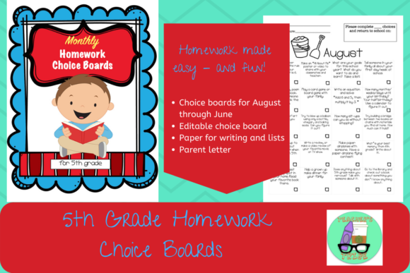 5th Grade HW Choice Boards for All Year Graphic 5th grade By Teacher's Tribe