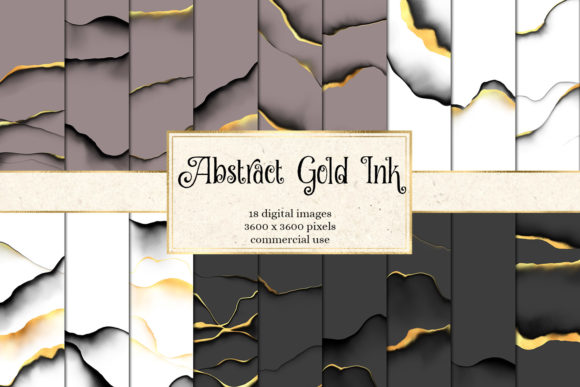 Print on Demand: Abstract Gold Ink Backgrounds Graphic Textures By Digital Curio